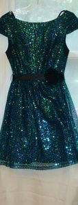 Iridescent blue sequin dress with ribbon